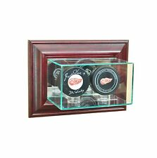 Wall Mounted Double Hockey Puck Glass Display Case NHL