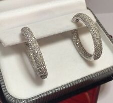 $10k Large 14k White Gold 550 Diamond 3Ct Pave In Out Hinged Hoop Earrings 1.25""