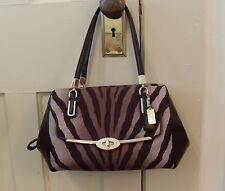 COACH Madison Zebra Animal Print Brown Leather Purse Handbag Satchel