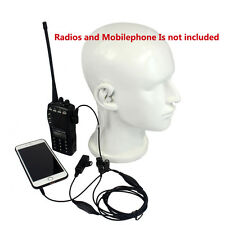 2 in 1  Covert Air Tube Earpiece 2 Pin PTT Mic for Motorola Radio&Mobile Phone