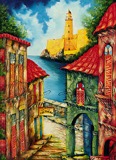 "CUBAN ART #090**TORANGO** HABANA LIGHTHOUSE 18X25"" SIGNED ON CANVAS"