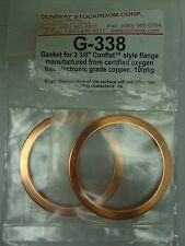 "DUNIWAY G-338 Copper Gaskets for 3.375"" OD CF Flange OD 2.425"", ID 2.010"" (x2)"