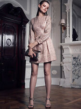 New REISS Rose Gold Melanie Jacquard Celeb Christmas Party Dress Size 10 £195