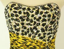 Size 2 Tony Bowls $500 Mermaid Strapless Yellow Animal Long Gown Prom Formal