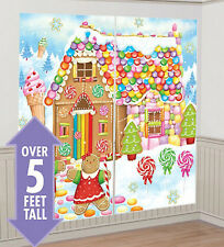 GINGERBREAD HOUSE Scene Setter Christmas party wall decor kit 5' candy sweets
