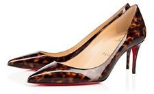 CHRISTIAN LOUBOUTIN Decollete 554 70mm Tortoise Patent Pumps Classic Shoes 40/9