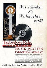 Carl Lindström A.G. Berlin MUSIK-PLATTEN PARLOPHON  Historische Annonce 1928
