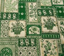 Ozark Calico Fabric BTY Fabri-Quilt Delft Green Floral Pattern Block Tile Flower