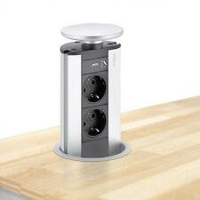 EVOLINE Port mit USB Charger - die versenkbare Energiebox mit 2 Steckdosen und L