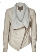 Muubaa Beige Draped Front Leather Jacket Size 12 BNWT (RRP £399)