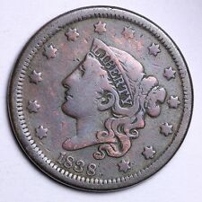 1838 Large Cent Penny CHOICE VF FREE SHIPPING E107