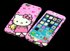for Apple iPhone 6 6S Pink Hello kitty Dual Back + Front Case cover Defender
