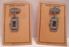 2 Old 1930s Lead Toy Watches - Watch Pins on orig Display Card USA