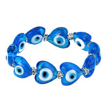 Evil Eye Bracelet in Light Blue Murano Glass Hearts for Protection