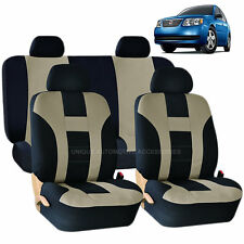 BEIGE & BLACK DOUBLE STITCH SEAT COVERS 8PC SET for SATURN ION VUE