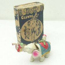 Vintage Wind-Up Celluloid Circus Elephant & Clowns Toy in BOX,C.K. Made in Japan