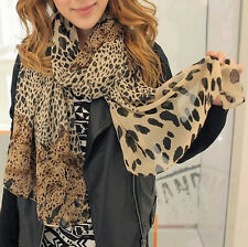 Ladies' Women fashion large dark brown animal leopard print crinkle scarf shawl