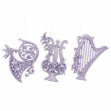 3 Christmas Lilac Glitter Musical Instrument Hanging Tree Ornament Decorations