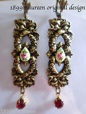 Art Nouveau Art Deco earrings Edwardian vintage stye guilloche cameo drop LONG