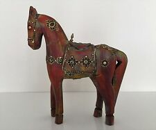 Handmade Carved Painted Wooden Horse Rajasthani Folk Art Indian Handicraft