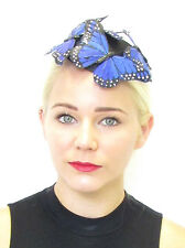 Royal Blue Black Butterfly Fascinator Hair Clip Unique Headpiece Races Vtg 570