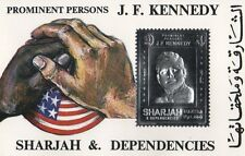 PROMINENT PERSONS J.F. KENNEDY JFK SHARJAH AND DEPENDENCIES SILVER FOIL STAMP