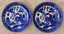 """PAIR OF VINTAGE MID-20th CENTURY BLUE WILLOW 6"""" SAUCERS / DISHES - MADE IN JAPAN"""
