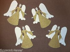 """4 faceless shimmery angels die cuts  2 3/4""""  die cut gold & white shimmers"""