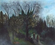 Original Isaac Antcher 1899-1992 Romanian Artist O/C Park View in the Evening