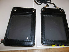 Womens GIRLs FAUX Leather BLACK WALLET PURSE NECK Clear work ID holder NEW
