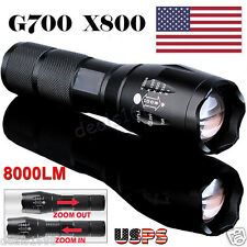 G700 8000Lumen Zoom XM-L T6 LED Tactical 18650 Flashlight Focus Torch Lamp Light