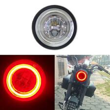 "Universal Red Angel Eye Halo Rings 6.3"" White Dual Beam LED Motorcycle Headlamp"