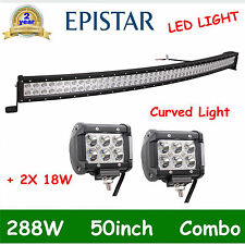 50in 288W EPISTAR FLOOD SPOT COMBO CURVED LED LIGHT BAR+2X4''18W DRIVING OFFROAD