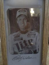 RUSTY WALLACE #2 Miller Lite Nascar Glass & Wood Candle Holder