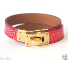 New HERMES Kelly Double Tour Lizard Pink Red Bougainvillea GHW S Bracelet KDT