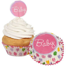 Stork Baby Girl Baby Shower Cupcake Decorating Kit Baking Cups and Picks for 24