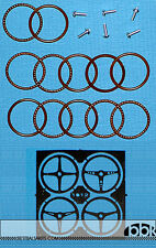 4 DIFF 1/24 PE STEERING WHEELS w WOODEN LIKE FINISH 1PC each for TAMIYA REVELL
