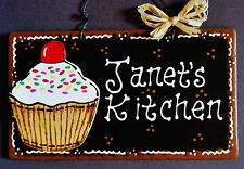 Black Sign CUPCAKE OVERLAY Personalized Name KITCHEN Decor Wood Wall Plaque