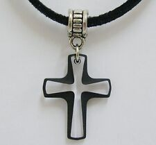 Swarovski Crystal Pendant Cord 6860 Cross Jet Black Tribal Bail 20mm X 16mm