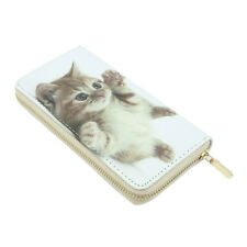 Premium Cute Little Kitty Cat Kitten Animal Print PU Leather Zip Around Wallet