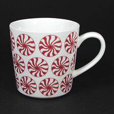 Crate & Barrel 16 oz Peppermint Mug Cup Red White Holiday Candy 330-721