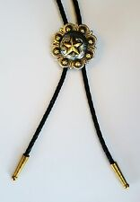 STAR TEXAS STATE SILVER AND GOLD RODEO CATTLE WESTERN COWBOY BOLOTIE BOLO TIE