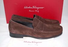 SALVATORE FERRAGAMO Marco Dark Brown Suede Penny Loafer Men Wide Shoes 7 EE