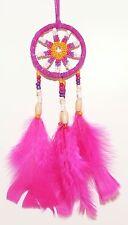 TRAUMFÄNGER D= 5,0 cm pink, Dreamcatcher Perlen, Indianer Federn, Western Deko