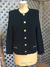 MITA Black HORSE BIT BUTTONS Cardigan Sweater Jacket 10 KRINKLE SPUN KNIT Ribbed