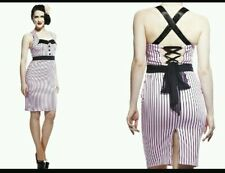 Size 8 Hell Bunny Mrs Johnson pinstripe Dress