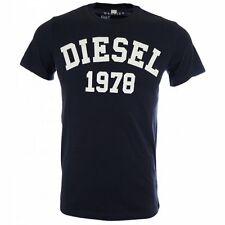 New Diesel Men's T-Shirt T-EHM Blue & White TShirt Available in All Sizes RRP£55