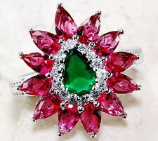 3CT Ruby & Emerald Quartz Topaz 925 Solid Sterling Silver Ring Sz 6, T3-9