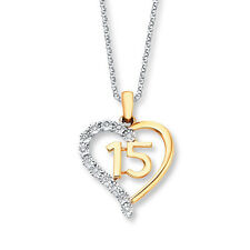 Quinceanera Heart Necklace 925 Sterling Silver Number 15 Necklace With Gift Box