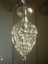 ~~ pretty ~ petite vintage french glass dome crystal chandelier ~ 1 of 2 ~